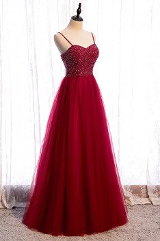 Burgundy Tulle Prom Dress Aline Sequined Bodice with Straps - MX16071