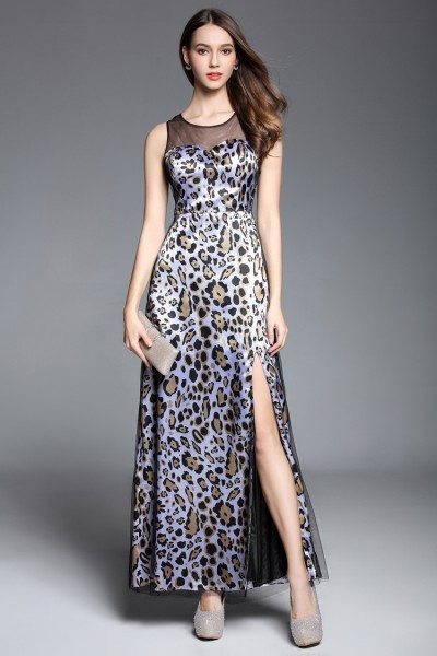 Leopard Print Slit Sleeveless Long Party Dress