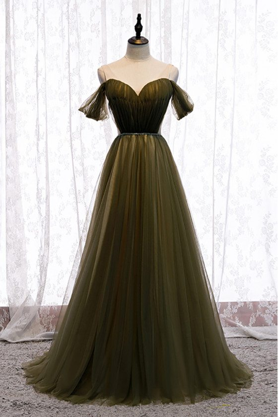 Dusty Green Tulle Pleated Formal Prom Dress with Beaded Waist - MX16039