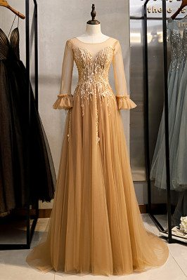 Gold Long Tulle Prom Dress Illusion Round Neck with Sheer Sleeves - MX16079