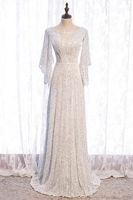 Goddess White Sequins Evening Dress with Dolman Sleeves - MX16114