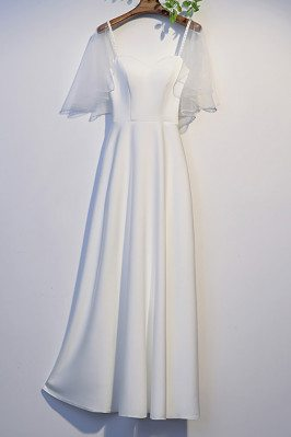 Simple White Satin Long Prom Dress with Dolman Sleeves - MX16086