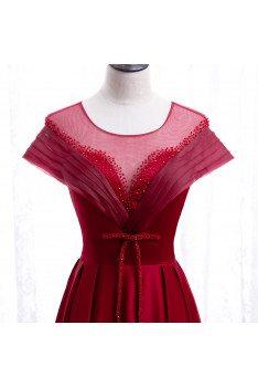 Elegant Round Neck Sequined Formal Dress with Keyhole Back - MX16045