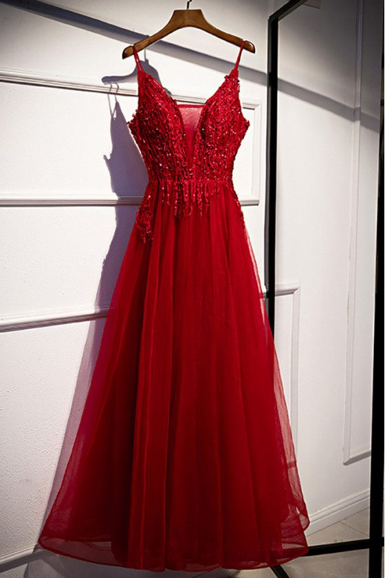 Sequined Appliques Aline Tulle Prom Dress with Spaghetti Straps - MX16037