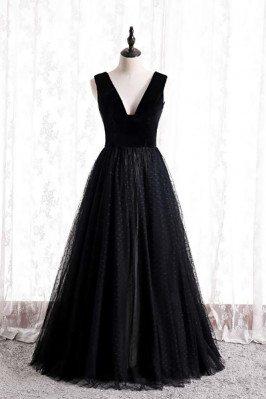 Polka Dot Long Black Tulle Formal Dress Vneck Sleeveless - MX16125