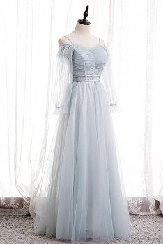 Gorgeous Light Blue Long Tulle Prom Dress with Long Sleeves - MX16095