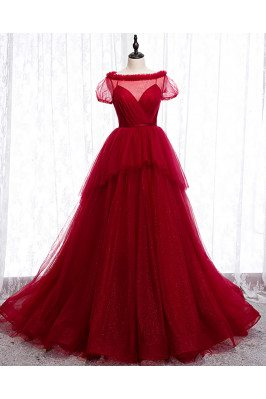 Burgundy Bling Tulle Formal Dress Ballgown with Short Sleeves - MX16033