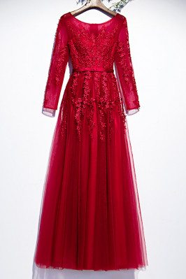 Beautiful Aline Long Party Dress Long Sleeved with Appliques - MX16084