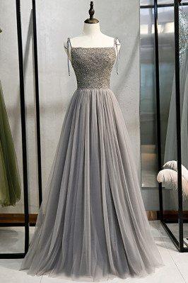 Elegant Aline Grey Tulle Prom Dress with Sequined Bodice - MX16070