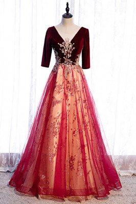 Burgundy Velvet with Tulle Long Formal Dress Vneck with Bling Sequins - MX16083
