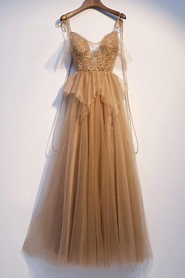 Flowy Tulle Vneck Champagne Prom Dress with Strappy Straps - MX16076