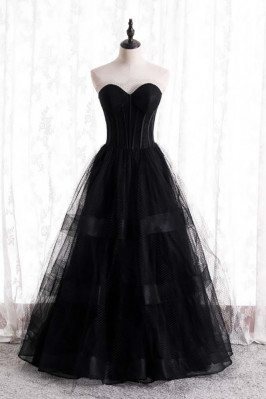 Gothic Black Corset Prom Dress Ballgown with Mesh Tulle - MX16127