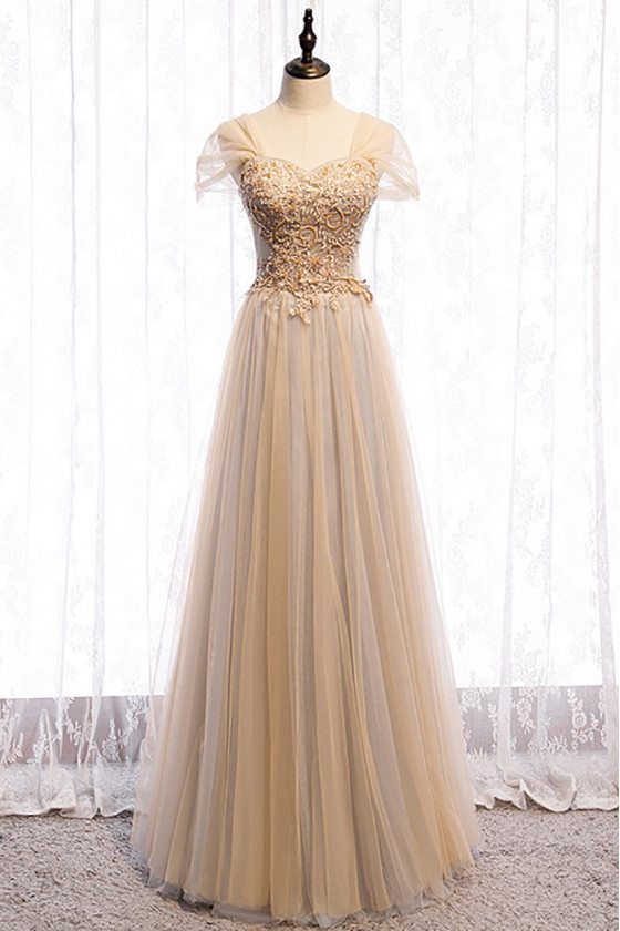 Flowing Tulle Elegant Champagne Prom Dress Sequined with Cap Sleeves - MX16029