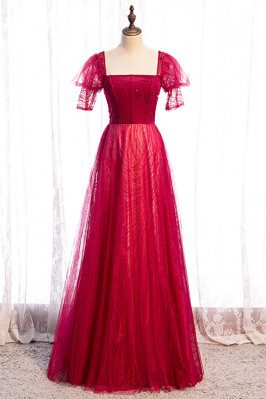 Burgundy Square Neckline Long Party Dress with Sequins - MX16051