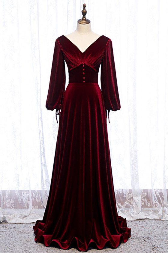 Deep Red Vneck Evening Dress Velvet with Lantern Long Sleeves - MX16060
