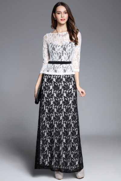 White And Black Lace 3/4 Sleeve Long Dress
