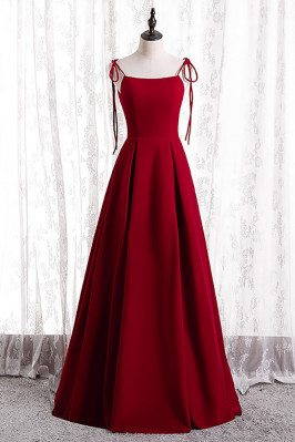 Simple Satin Formal Dress Pleated with Strappy Straps - MX16115