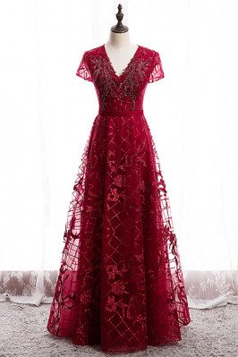 Burgundy Vneck Sequined Formal Dress Modest with Sleeves - MX16025