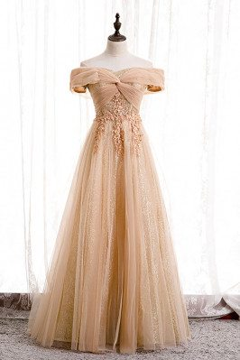 Champagne Long Tulle Off Shoulder Prom Dress with Appliques Sequins - MX16096