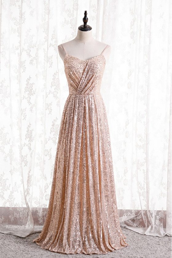 Pleated Champagne Gold Sequined Formal Dress with Spaghetti Straps - MX16135