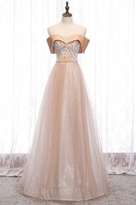 Bling Champagne Tulle Prom Dress Off Shoulder with Beaded Pattern - MX16113