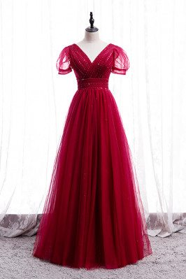 Burgundy Sequined Tulle Vneck Party Dress with Bubble Sleeves - MX16049