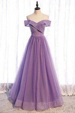 Purple Pleated Off Shoulder Tulle Prom Dress with Sequins - MX16101
