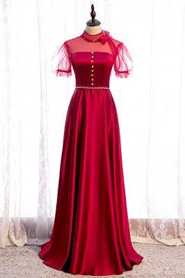 Satin Burgundy Formal Dress Sleek with Bow Knot Sleeves - MX16052