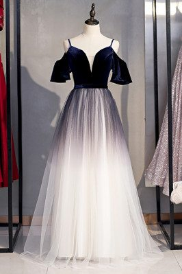 Ombre Navy Blue Aline Tulle Long Prom Dress with Straps - MX16002