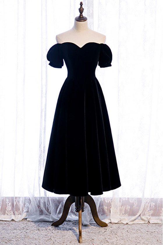 Simple Black Velvet Tea Length Party Dress with Off Shoulder - MX16108