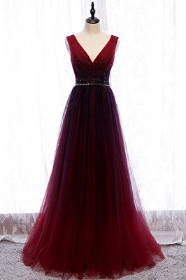 Flowy Burgundy Deep Vneck Formal Dress Tulle with Sequined Waist - MX16015