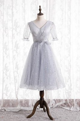 Elegant Grey Bling Tea Length Homecoming Party Dress with Sleeves - MX16131