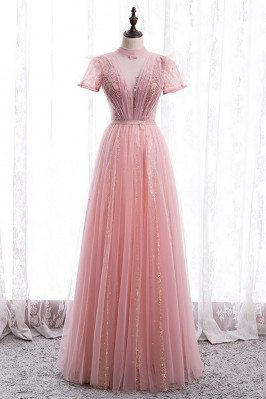 Gorgeous Pink Tulle Prom Dress Short Sleeved with High Neck - MX16074