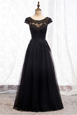 Long Black Prom Dress Round Neck Sequined with Appliques - MX16075