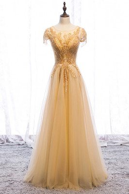 Sequined Gold Flowy Tulle Aline Long Formal Dress with Illusion Neckline - MX16038