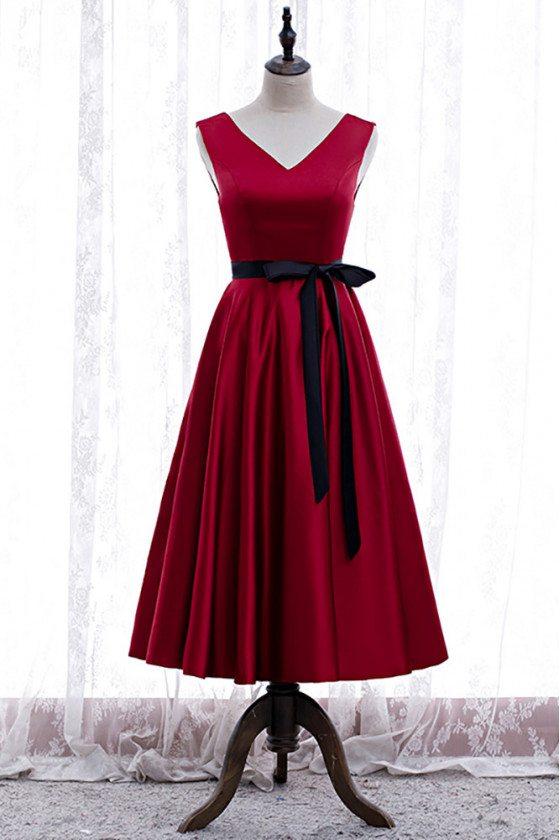 Simple Tea Length Party Dress Vneck with Sash - MX16041
