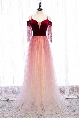 Aline Velvet with Tulle Long Bling Prom Dress with Straps - MX16001