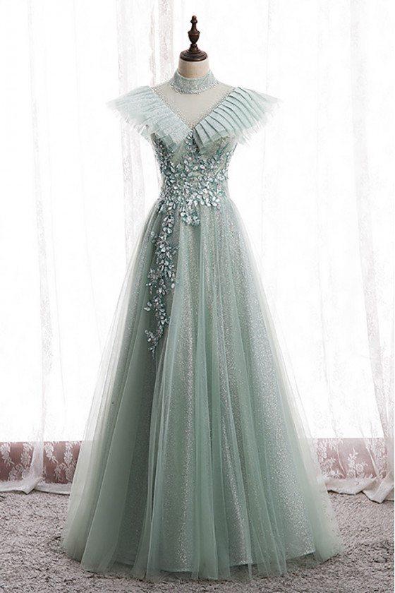 Green Mesh Tulle Long Prom Dress Bling with Beadings High Neck - MX16027