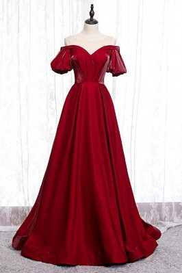 Burgundy Formal Dress Pleated with Illusion Neckline Sleeves - MX16034