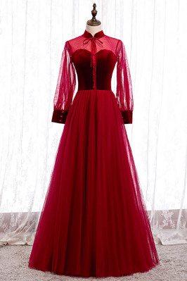 Burgundy Aline Tulle Formal Dress with Collar Sheer Sleeves - MX16059