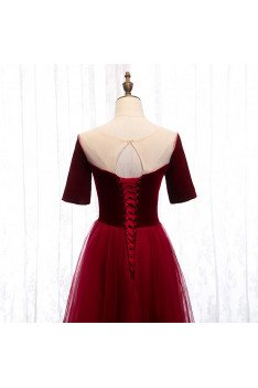 Velvet with Tulle Burgundy Party Dress Aline with Sleeves - MX16054