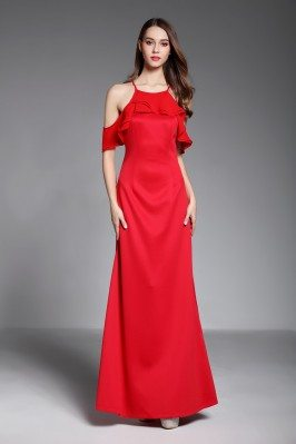 Simple Red Ruffles Long Evening Dress