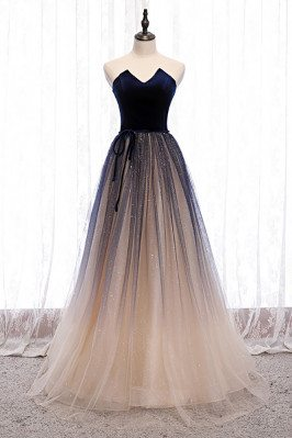 Special Ombre Bling Tulle Party Prom Dress with Sash - MX16111