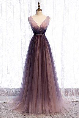 Purple Pleated Tulle Deep Vneck Formal Prom Dress Flowing - MX16007