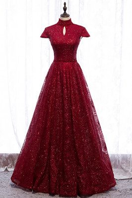 Sparkly Sequined Formal Dress High Neck with Cap Sleeves - MX16050