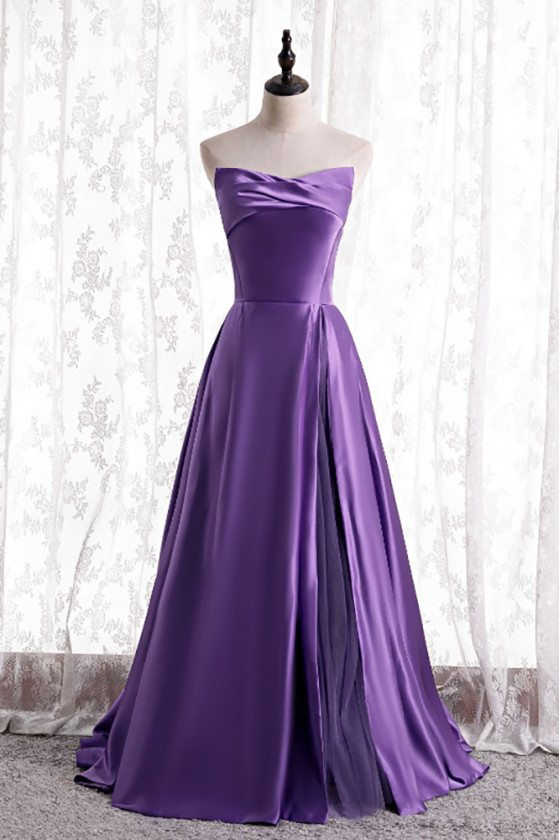 Purple Simple Satin Strapless Evening Dress with Laceup - MX16123