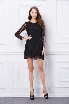 Little Black Lace Long Sleeve Bodycon Dress