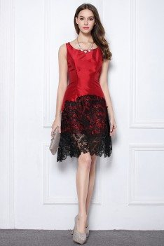 Red And Black Lace Taffeta Short Dress