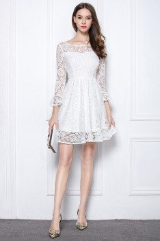 Little White Round Neck Lace Sleeve Short Dress