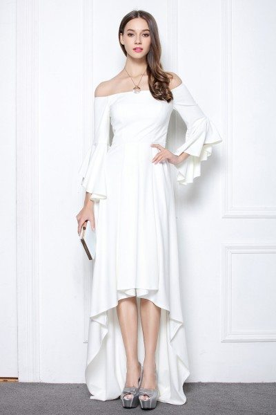 White High Low Formal Dress With Sleeves